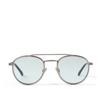 Jimmy Choo DAVE Matte Ruthenium Oval Sunglasses with Azure Photochromic Lenses