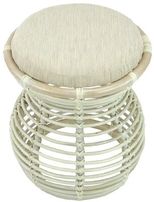 Bay Isle Home Donato Natural Rattan Handmade Round Accent Stool Color: White Wash