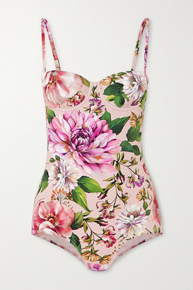 Dolce & Gabbana Cutout Floral-print Underwired Swimsuit - Pink