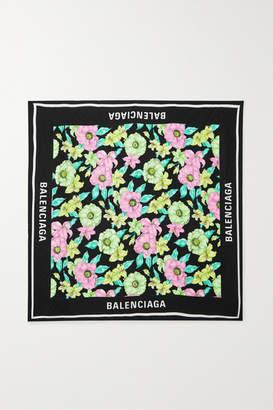 Balenciaga Printed Silk-twill Scarf - Pink