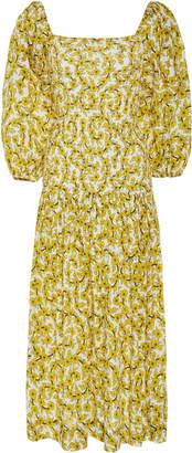Rhode Resort Harper Smocked Floral-Print Cotton Midi Dress