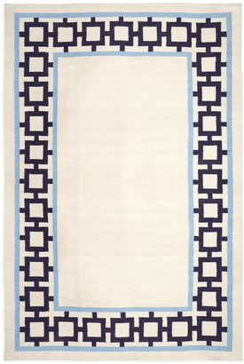 Jonathan Adler Navy/Light Blue Nixon Border Reversible Peruvian Flat Weave Rug