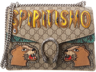 Gucci Canvas & Green Python Leather Dionysus