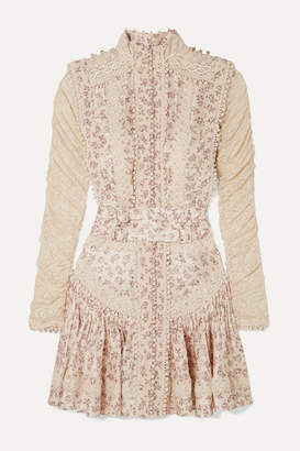 Zimmermann Sabotage Crochet-trimmed Floral-print Silk-georgette And Lace Mini Dress - Ivory