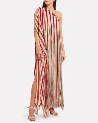 Monse Striped Silk Fringe Kaftan
