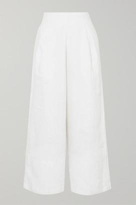 Faithfull The Brand Meridian Cropped Linen Wide-leg Pants - White