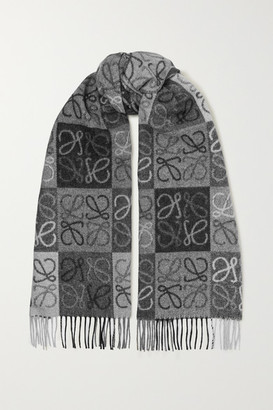 Loewe Fringed Wool And Cashmere-blend Jacquard Scarf - Gray