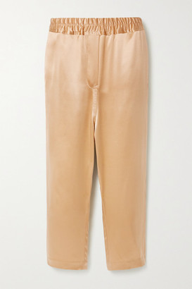 Nili Lotan Safi Silk-satin Track Pants - Gold