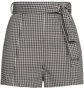 Zimmermann Paradiso Belted Gingham Cotton-blend Shorts