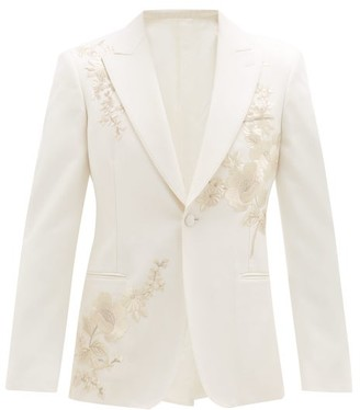 Alexander McQueen Floral-embroidered Wool-twill Suit Jacket - Ivory