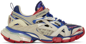 Balenciaga Beige and Blue Track 2 Sneakers