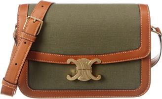 Celine Medium Triomphe Canvas & Leather Shoulder Bag