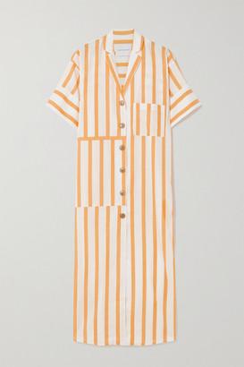 KING & TUCKFIELD Striped Cotton-blend Midi Shirt Dress - White
