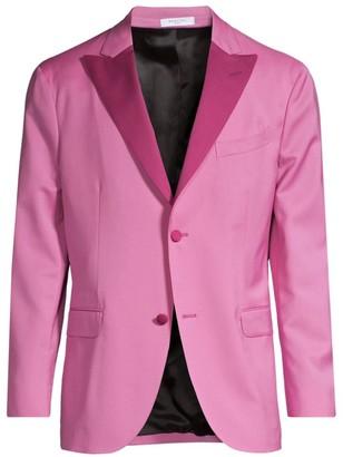 Boglioli Contrast Lapel Single-Breasted Suit Jacket