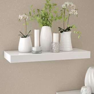 "Ebern Designs Himmelmann Floating Shelf Ebern Designs Size: 2"" H x 23.5"" W x 9.25"" D, Finish: White"