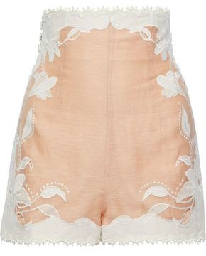 Zimmermann Corsage Lily Button-detailed Embroidered Linen And Silk-blend Shorts