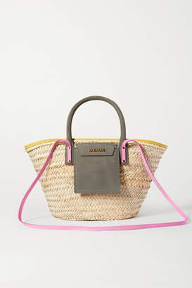 Jacquemus Soleil Nubuck-trimmed Straw Tote - Green