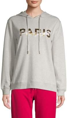 Karl Lagerfeld Paris Cotton-Blend Logo Hoodie