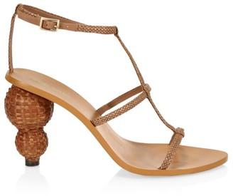 Cult Gaia Eden Metallic Woven Double Bauble Heel Ankle-Strap Sandals