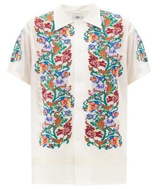 Bode Floral-needlepoint Cotton-gauze Shirt - White