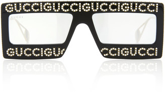 Gucci Logo-Embellished Acetate Square-Frame Sunglasses
