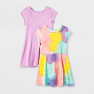 Cat & Jack Toddler Girls' 2pk Tie-Dye and Purple Dresses - Cat & JackTM Pink/Violet