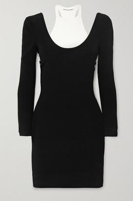 Alexander Wang Layered Jersey And Ribbed Cotton-blend Mini Dress - Black