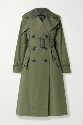Sacai Paneled Cotton-gabardine And Wool-blend Trench Coat - Dark green
