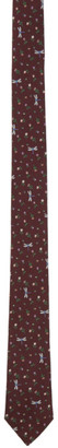 Paul Smith Burgundy Silk Flowers and Flies Narrow Tie