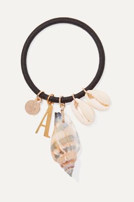 Lelet Ny LELET NY - Alphabet Gold-plated Faux Shell Hair Tie - Black