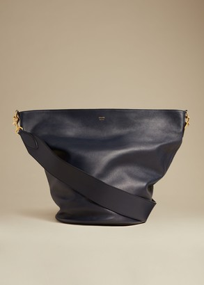 KHAITE The Virginia Hobo in Navy Leather