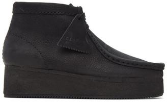 Clarks Black Nubuck Wallabee Wedge Boots