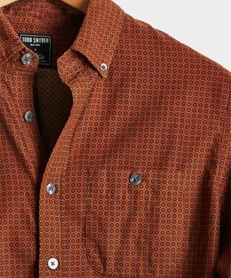 Todd Snyder Italian Micro Cord Foulard Shirt in Rust