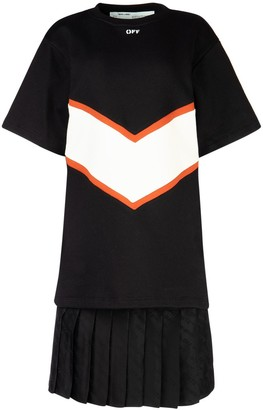 Off-White Pleated Layer T-Shirt Dress