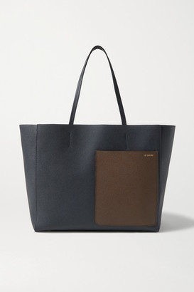 Valextra Shopper Large Two-tone Textured-leather Tote - Navy