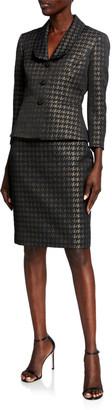 Albert Nipon Metallic Houndstooth Shawl Collar Skirt Suit