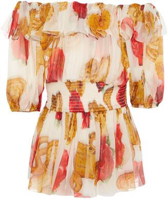 Dolce & Gabbana Off-the-shoulder Shirred Floral-print Silk-chiffon Peplum Blouse