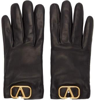 Valentino Black Garavani Leather VLogo Gloves