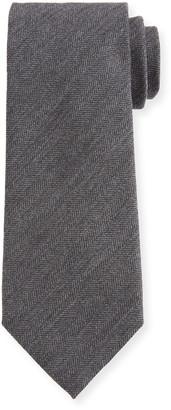 Ermenegildo Zegna Men's Solid Herringbone Tie, Gray