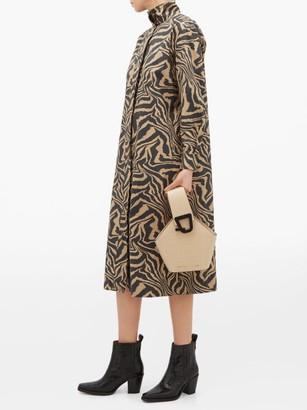 Ganni Tiger-print Cotton Shirtdress - Womens - Beige Multi