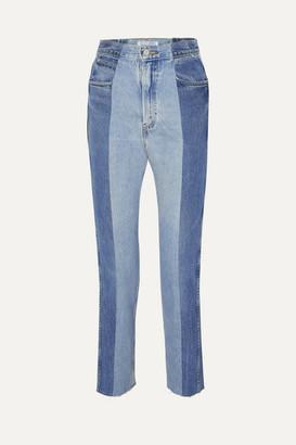 E.L.V. Denim - The Twin Two-tone High-rise Straight-leg Jeans - Mid denim