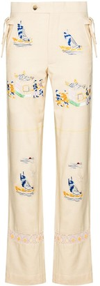 Bode Sailing Tableau Embroidered Trousers