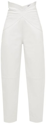 ATTICO The Butterfly-insert High-waist Leather Trousers - Womens - White