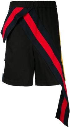 Facetasm contrast stripe band shorts