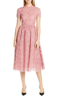 Valentino Floral Organza Midi Dress