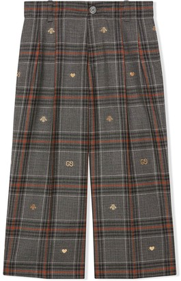 Gucci Kids Embroidered Check-Print Trousers