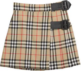 Burberry Girl's Luisa Buckle Check Skirt, Size 4-14