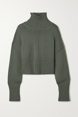 Peter Do Cropped Knitted Turtleneck Sweater - Anthracite