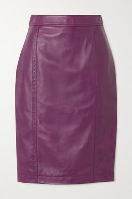 Saint Laurent Leather Skirt - Purple