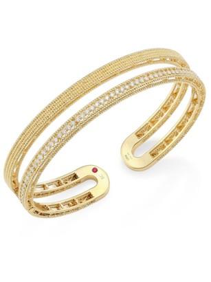 Roberto Coin Double Symphony Diamond & 18K Yellow Gold Bangle